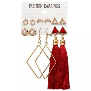Jewelry - Gold red tassel earrings